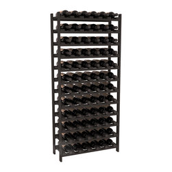 Wine Racks America - 72 Bottle Stackable Wine Rack in Ponderosa Pine, Black - Four kits of wine racks for sale prices less than three of our 18 bottle Stackables! This rack gives you the ability to store 6 full cases of wine in one spot. Strong wooden dowels allow you to add more units as you need them. These DIY wine racks are perfect for young collections and expert connoisseurs.