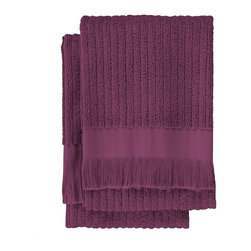 Nine Space - Ribbed Hand Towel (Set of 2), Plum - Lend a luxurious look to your bath with these everyday essentials that are anything but basic. Jacquard weaving patterns both sides of these hand towels with a subtle ribbed design for great texture. Made from pure Turkish cotton and finished with hand-tied fringe.