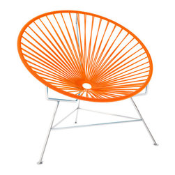 Innit Chair, Chrome Frame, Orange - This iconic chair is perfect for outdoor living, as the woven vinyl is weather poof and easy to clean. But add it to a living room scheme and it brings the perfect pop of personality. You can order from a rainbow of colors to contrast the chrome base or stick with the classic black vinyl for a modern look.