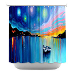 DiaNoche Designs - Shower Curtain Artistic - Midnight Harbor xxxii - DiaNoche Designs works with artists from around the world to bring unique, artistic products to decorate all aspects of your home.  Our designer Shower Curtains will be the talk of every guest to visit your bathroom!  Our Shower Curtains have Sewn reinforced holes for curtain rings, Shower Curtain Rings Not Included.  Dye Sublimation printing adheres the ink to the material for long life and durability. Machine Wash upon arrival for maximum softness. Made in USA.  Shower Curtain Rings Not Included.