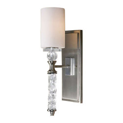 Uttermost Campania 1 Light Carved Glass WallSconce - Brushed nickel plated details with a carved glass body, crystal accents and white frosted glass shade. Brushed nickel plated details with a carved glass body, crystal accents and white frosted glass shade.