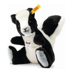 Steiff - Steiff Sniffy Skunk - Steiff Sniffy Skunk is made of cuddly soft black and white plush. Machine washable. Ages 3 and up. Handmade by Steiff of Germany.