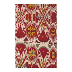 Safavieh - Safavieh Ikat IKT226A, Ivory, Red, 6' Square Rug - The Ikat collection comprises of transitional design and made with a thick, dense wool pile in India. This hand tufted rug is inspired by Ikat patterns made with today's modern colors.