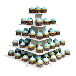 The Smart Baker - The Smart Baker 5 Tier Square Cupcake Tower - This Cupcake Tower is made in separate interlocking pieces. When all layers are placed together, this Cupcake Tower has FIVE tiers. You can comfortably fit 80 standard cupcakes or 185 mini cupcakes with some room to spare. If you need to fit, more you can reduce the spacing between your cupcakes and you can fit as many as 100 standard cupcake or 200 minis. However, for smaller occasions such as family dinners, intimate parties, and other smaller scale events, you can use the number of tiers you need. It is a sturdy construction and will safely hold all of your precious goodies, no matter which size you choose to use it in.