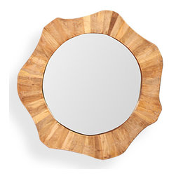 Kathy Kuo Home - Hermosa Coastal Beach Mango Wood Sun Framed Mirror - Small - Every day will shine a little brighter when you look into this mango wood-framed mirror. Whether mounted in a bedroom, library or study, the naturally beautiful, petite sunny shape will reflect the beauty of the owner and its surroundings.
