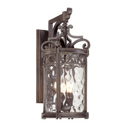 Minka Lavery - Minka Lavery Outdoor 9223-256 Regal Bay 3 Light Wall Sconce - Mouth Blown Clear Hammered Glass Shade