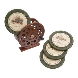 Demdaco - Fly Reel Coasters Set of 4 - Fly  Rod  Reel  Coasters  in  Green  and  Rust          Store  a  set  of  coasters  inside  this  colorful  metal  fly  rod  container.  Holds  an  assortment  of  hunter  green  coasters  with  a  variety  of  fishing  flies  featured  on  each  one.                  Hand-cast  resin              Dimensions:   5L  x  3W  x  5.75H              Four  coasters  included  in  the  set