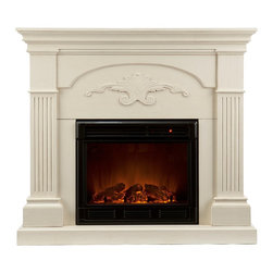 "Holly & Martin - Holly & Martin Salerno Electric Fireplace, Ivory, 44.75""w X 14""d X 40.25""h - Finished with a beautiful ivory color, the elegance of this fireplace is ideal for enhancing your home's cozy appeal. Fluted columns on each side and a decorative scroll applique create one beautiful home accent. All of your guests are sure to marvel at such a wonderful centerpiece. Portability and ease of assembly are just two of the reasons why our fireplace mantels are perfect for your home. Requiring no electrician or contractor for installation allows instant remodeling without the usual mess or expense. In addition to your living room or bedroom, try moving this fireplace to your dining room for romantic dinners or complement your media room with a ventless fireplace below your flat screen television. Use this great functional fireplace to make your home a more welcoming environment."
