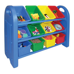 Ecr4kids - Ecr4Kids Home Kidsroom Decorative 3 Tier Toy Storage Organizer With 12 Bins - Durable, 3-tier toy storage rack with rounded edges for safety. Features steel reinforced crossbars for added strength, and blow-molded side panels. Includes an assortment of 12 primary scoop-front tote bins.