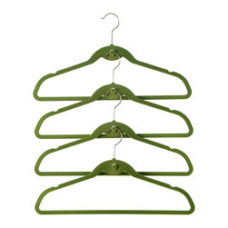 ClutterFREE - Cascade Hangers in Meadow Green - Pack of 72 - Keep your closet neat and organized with Clutter Free Flocked Cascading Hangers!. Clutter Free Hangers feature an ultra slim line profile and a built in Cascade Hook!. The built in cascade hook increases your closet storage capacity. Clutter Free hangers have a velvety flock surface, preventing clothes from slipping off. These strong, durable and flexible hangers hold any garment without fear of breaking!. 17.75 in. L x 0.32 in. W x 9.75 in. H (0.17 lbs)