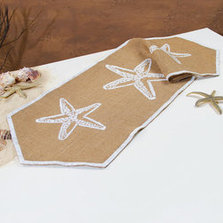 Ohio Wholesale, Inc. - Starfish Burlap Runner - Complete your dining room's coastal transformation with this burlap runner. Its oceanic theme is the perfect accent to décor, or a nice one-off piece for a small splash of beach bliss.   36'' L x 0.25'' H x 12'' D Burlap Imported