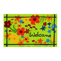 BuyMATS Inc. - Wildflower - Welcome MAT - •Exciting full color design Indoor/Oudoor Entry MAT with built in channels provide high fashion appeal.