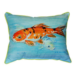 Betsy Drake - Betsy Drake Koi Pillow- Indoor/Outdoor - Koi Pillow- Large indoor/outdoor pillow. These versatile pillows are equal at enhancing your homes seaside decor and adding coastal charm to an outdoor setting arrangment. They feature printed outdoor, fade resistant fabric for years of wear and enjoyment. Solid back, polyfill. Proudly made in the USA.