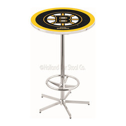 Holland Bar Stool - Holland Bar Stool L216 - 42 Inch Chrome Boston Bruins Pub Table - L216 - 42 Inch Chrome Boston Bruins Pub Table  belongs to NHL Collection by Holland Bar Stool Made for the ultimate sports fan, impress your buddies with this knockout from Holland Bar Stool. This L216 Boston Bruins table with retro inspried base provides a quality piece to for your Man Cave. You can't find a higher quality logo table on the market. The plating grade steel used to build the frame ensures it will withstand the abuse of the rowdiest of friends for years to come. The structure is triple chrome plated to ensure a rich, sleek, long lasting finish. If you're finishing your bar or game room, do it right with a table from Holland Bar Stool.  Pub Table (1)
