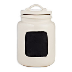 Chalkboard Jar - Small - The Small Chalkboard Jar is a charming kitchen accent in durable ivory ceramic, perfectly sized for sugar packets, for leftover shortbread, or for storing your private stash of high-end teabags.  Write on the blackboard label to identify what you've stowed in this practical accessory for the kitchen, which also serves a nostalgic, attractive easy-sorting purpose on office shelves.