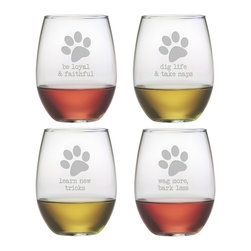 Susquehanna Glass - Dog Wisdom Stemless Wine Glass, 21oz, S/4 - Each 21 ounce stemless tumbler is sand etched with a different playful dog-themed design. Dishwasher safe. Sold as a set of four. Made and decorated in the USA.