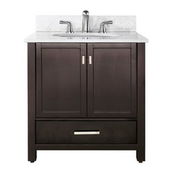 Avanity - Modero 36 Vanity Combo Espresso, Carrera White Marble Top - The Modero 36 in. vanity has a simple clean design with a rich expresso finish and brushed nickle hardware. It is constructed of solid poplar wood and veneer with soft-close doors and drawers that showcase its quality. The vanity combo includes a black granite counter top and undermount sink. Add the coordinating mirror, mirrored storage cabinet or linen tower to complete the look of your bathroom.