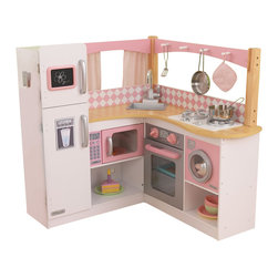 "KidKraft - Kidkraft Home Indoor Decorative Kids Pretty Girls Grand Gourmet Corner Kitchen - Playing with our Grand Gourmet Kitchen will make any kid feel like a world-class chef. This deluxe kitchen is loaded with fun details, including an innovative structure and an entire set of metal accessories. Dimension: 36""Lx 36""Wx 35.5""H"