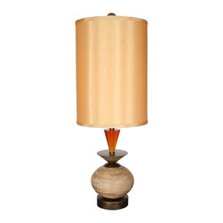 "Van Teal - Contemporary Van Teal Original 35"" High Golden Ochre Table Lamp - This modern table lamp design features an artistic base of multiple shapes in a golden ochre finish. A tall Eastern Gold drum shade tops off this stylish design. From the Ring O Collection. Golden ochre finish. Honey Brown acrylic. Eastern Gold drum shade. Maximum one 150 watt 3-way bulb (not included). 35"" high. Shade is 13"" x 13"" x 18"".  Golden ochre finish.  Honey Brown acrylic.  Eastern Gold drum shade.  Maximum one 150 watt 3-way bulb (not included).  By Van Teal Lighting.  35"" high.  Shade is 13"" x 13"" x 18""."