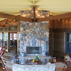 Screen Porch Fireplace - screen porch fireplace protected with Weather Queen Screen Porch Shades