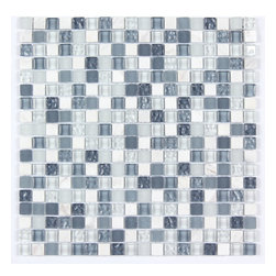 Stone & Co - All Marble Mosaic Glass and Stone Mix 5/8 x 5/8 Glass Mosaic Tile Mag 4422 SQ - Finish: Polished / Shiny / Matt
