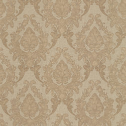 Mirage - Mirage Jubilee Regal Wallpaper - Sure, this paper will add old-world elegance to your home. But can't you just picture it behind a modern, white lacquered console or even industrial steel and reclaimed wood shelving? Stunning in any setting, the warm damask pattern brings a silk finish in hard-working vinyl. Each bolt is 20.5 inches wide and 33 feet long, has a 10.44-inch repeat and a straight match.