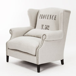 Napoleon Linen Brass Nail head Half Wingback Chair - The nailhead mixed with the Provence print would look fabulous in any corner of a room.