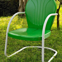 Crosley Furniture - Metal Chair in Grasshopper Green - UV resistant. Warranty: 90 days. Made from steel. Non-Toxic powder coated finish. Assembly required. 28.5 in. W x 21 in. D x 34.5 in. H (15 lbs.)Relax outside for hours on our nostalgically inspired Griffith metal outdoor furniture. Kick back while you reminisce in this sturdy steel chair, designed to withstand the hottest of summer days and other harsh conditions. The chairs non-toxic, powder-coated finish is available in various colors to complement your outdoor accessories.