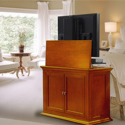 "Highland TV Lift Cabinet For Flat Screen TV's Up To 46"" - At first glance, it's a beautiful bed-end cabinet with a dark cherry finish. The Highland TV lift cabinet transforms any room into the ultimate theater like experience with the press a button."