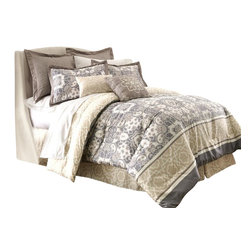 Monica Abstract 8-piece Comforter Set Queen Slate/Yellow - Comforter sets aren't just for sleeping. They can also be regarded, like armoires and suits of armor, as a practical piece of art for the bedroom. This eight-piece set includes euro shams, decorative pillows, pillow shams, and a tailored bed skirt, not to mention an oversized, overfilled comforter wrapped in 100% polyester.