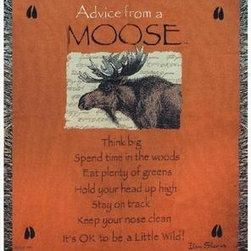 `Advice From a Moose` Tapestry Throw Blanket 50 Inch X 60 Inch - This multicolored woven tapestry throw blanket is a wonderful addition to your home or cabin. Made of cotton, the blanket measures 50 inches wide, 60 inches long, and has approximately 1 1/2 inches of fringe around the border. The blanket features a print of a North American Moose, and the legend `Advice From A Moose; Think big. Spend time in the woods. Eat plenty of greens. Hold your head up high. Stay on track. Keep your nose clean. It`s OK to be a Little Wild!` Care instructions are to machine wash in cold water on a delicate cycle, tumble dry on low heat, wash with dark colors separately, and do not bleach. This comfy blanket makes a great housewarming gift that is sure to be loved.