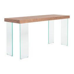 Eurostyle - Euro Style Cabrio Collection Console Table Glass in Clear/Walnut - Console Table Glass in Clear/Walnut in the Cabrio Collection by Eurostyle