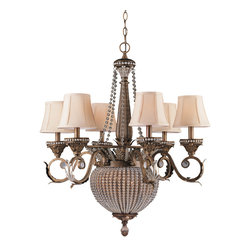 Crystorama - Crystorama 6726-WP Roosevelt 8 Light Chandeliers in Weathered Patina - The Roosevelt collection delivers all the sparkle of a crystal chandelier but in a more modern silhouette. Stands of clear crystal beads dress up the bell-shaped wrought iron base, which is hand painted in a weathered patina finish.