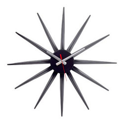 "LexMod - Starflash Wall Clock in Black Silver Red - Starflash Wall Clock in Black Silver Red - Recreate reality and ride into new universes with this designer timepiece in black lacquered metal. From hidden depths and first inklings allow yourself to surge forth and navigate successful realms. Enjoy this George Nelson classic as you witness striking statements shooting forth with energy and charisma that draw attention to a cosmic event made public. Set Includes: One - Starburst Clock Black Lacquered Metal , Quartz Analog, Uses AA battery (sold separately) Overall Product Dimensions: 2""L x 22""W x 22""H - Mid Century Modern Furniture."
