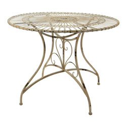 Oriental Furniture - Rustic Circular Garden Table - Distressed White - Perfect for bringing shabby-chic style to your next garden party, this lovely wrought iron table exhibits an antique design that never grows old. Finished in white paint, each table is carefully distressed by hand for a unique, one-of-a-kind appearance that is both fashionably modern and pleasingly vintage. Ideal for an intimate gathering or family meal, this table is sure to become a beloved fixture in your home, lawn, or garden.