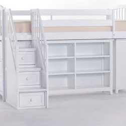 School House Storage Junior Loft with Stairs - White - Practical function and contemporary style go hand in hand in the School House Storage Junior Loft with Stairs - White making it a versatile addition to your child's room. Offering endless possibilities to adapt to your child's sleep and storage needs this loft unit features a twin-size bed which is mattress-ready with complete slat system and requires no foundation. It meets or exceeds CPSC requirements for safety and comes with side rails and guardrails for your peace of mind. The ladder and stair unit with storage drawers offer fun ways of getting in and out of bed. The horizontal bookcase with four roomy adjustable shelves and the short vertical bookcase with two roomy adjustable shelves offer plenty of storage space for your child's favorite books and toys while the three-drawer chest with English dovetail joints keeps clutter at bay. Made of sturdy hardwoods and veneers this loft comes in non-toxic lead-free white finish that will enhance most settings. Dimensions: Loft bed: 81L x 42W x 51.75H inches Horizontal bookcase: 46.25W x 14D x 31.5H inches Short vertical bookcase: 36.75W x 14D x 31.5H inches 3-drawer chest: 36.75W x 17.25D x 31.5H inches CPSC recommends the tops of the guardrails must be no less than 5 inches above the top of the mattress and that top bunks not be used for children under 6 years of age. About New Energy KidsNE Kids is a company with a mission: to create and import truly unique furniture for your child. For over thirty years they've been accomplishing this mission with flying colors one room at a time. Not only will these products look fabulous they will provide perfect safety for your children by adhering to the highest standards set by the American Society for Testing and Material and the Consumer Products Safety Commission. Your kids are in the best of hands and everyone will appreciate these high-quality one-of-a-kind pieces for years to come.