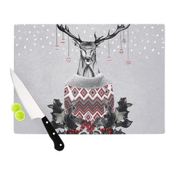 """Kess InHouse - Nika Martinez """"Christmas Deer Snow"""" White Holiday Cutting Board (11"""" x 7.5"""") - These sturdy tempered glass cutting boards will make everything you chop look like a Dutch painting. Perfect the art of cooking with your KESS InHouse unique art cutting board. Go for patterns or painted, either way this non-skid, dishwasher safe cutting board is perfect for preparing any artistic dinner or serving. Cut, chop, serve or frame, all of these unique cutting boards are gorgeous."""