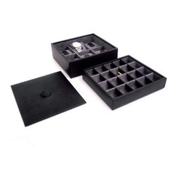 Black Leather 6-Watch / 20-Cufflink Box with Lid - 8.5W x 4.75H in. - Stackable black leather valet case that holds 6 watches on individual watch pillow on one level and an additional 20 sets of cufflinks in the second level. Velour lined for a scratch-free surface. About Bey-Berk InternationalThis quality jewelry box is created by Bey-Berk. For more than 20 years, Bey-Berk International has crafted and hand-selected unique gifts and accessories from around the world to meet the demands of discerning customers. With its line of elegant and distinctive products, Bey-Berk has established itself as a leader in luxury accessories.