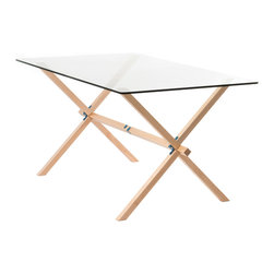 """Frame + Panel - Winston Trestle, Blue Hardware - As its name suggests, The Winston Table takes its inspiration from traditional trestle tables. The alternating angled legs give it some rhythm, while creating a sturdy base for the ½"""" thick glass top."""