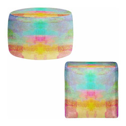 DiaNoche Designs - Ottoman Foot Stool - Pastel Fields - Lightweight, artistic, bean bag style Ottomans. You now have a unique place to rest your legs or tush after a long day, on this firm, artistic furtniture!  Artist print on all sides. Dye Sublimation printing adheres the ink to the material for long life and durability.  Machine Washable on cold.  Product may vary slightly from image.