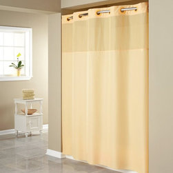 Hookless - Hookless Mystery Shower Curtain with It's a Snap PEVA Liner Shower Included - RB - Shop for Shower Curtains from Hayneedle.com! Versatile color choices and easy maintenance make the Hookless Mystery with It's a Snap PEVA Liner Shower Curtain. Step out of the shower feeling refreshed by this unique shower curtain. A sheer top panel lets in extra light while 100% 150-density plainweave polyester construction keeps water in the shower and off the floor. The patented flex-on rings make hanging this curtain a breeze. Machine-wash this curtain on gentle to keep it in top-notch shape for showering. Simply hand-wash the liner with mild soap and water for best results. Fits most standard showers.
