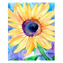 "Brazen Design Studio - Watercolor Painting - Sunflower Floral Art Print 11x14 - ""Zonnebloem"" is a giclee reproduction of an original watercolour painting on Yupo by professional artist Brazen Edwards, using Epson Ultrachrome professional archival ink printed on Somerset Velvet, which has the look and feel of watercolour paper."