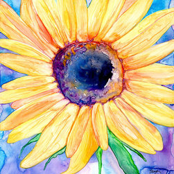 """Brazen Design Studio - Watercolor Painting - Sunflower Floral Art Print 11x14 - """"Zonnebloem"""" is a giclee reproduction of an original watercolour painting on Yupo by professional artist Brazen Edwards, using Epson Ultrachrome professional archival ink printed on Somerset Velvet, which has the look and feel of watercolour paper."""