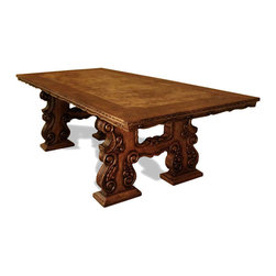 Nepal Rustic Dining Table, Brown Crackled and Torched W/ Golden Scrolls - Nepal Rustic Dining Table, Brown Crackled and Torched W/ Golden Scrolls and Gold Leaf