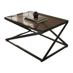 "Steve Silver Furniture - Steve Silver Darius 3-Piece Glass Top Coffee Table Set with Metal Base - Works of art in metal and glass, the Darius Collection has a modern zigzag design that is deceptively simple. The Darius 3-pack includes a 43"" x 24"" x 18"" cocktail tables and two 20"" x 20"" x 24"" end tables. Each piece has a black metal frame with a glass top ."