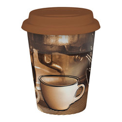 Konitz - Set of 4 Travel Mugs Coffee Story - The Coffee Story Travel Mug illustrates the story of how your coffee went from bean to cup! Beautiful brown d�cor with brown silicone lid.