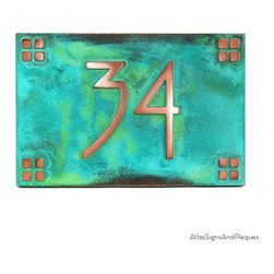 "American Craftsman Address Plaque 12"" x 8"" in Copper Verdi - For your American Craftsman Home. The font's simple, classic, no-nonsense design would make Frank Lloyd Wright flash one of his famous toothy grins and dance a little jig. We think this is very representative of the American Craftsman movement and a good fit for your bungalow, mission, prairie, or arts and crafts home."