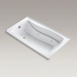 """KOHLER - KOHLER Mariposa(R) 66"""" x 36"""" alcove whirlpool with integral tile flange, left-ha - With delicate curves and an hourglass shape, the Mariposa bath brings harmony to your bathroom's design. Whirlpool jets massage away the day's tension as the built-in heater keeps your bath at the perfect temperature. A slip-resistant bottom surface offers extra traction and safety."""