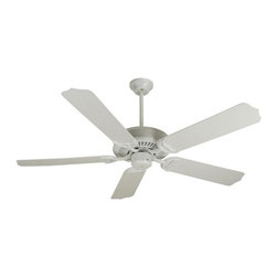 Craftmade - 52 in. Porch Fan in White w Outdoor Standard - Fan Specs:. Standard, 3 Speed Non-Reversibile Motor. 2 in. and 6 in. Downrods (Included). Suitable for Damp Locations. Standard Pull Chain Control. Number of Fan Blades: 5. Blade Pitch: 12°. Motor Size: 153 x 12mm. High Speed Amps: 0.7. RPM (Hi-Med-Low): 200-125-55. Airflow (Cubic FT/MIN): 5018. Electricity Use: 64 Watts. Airflow Efficiency (Cubic FT/Min/Watt): 77. Blade Specs:. Blade Length: 52 in.. Suitable for Wet Locations
