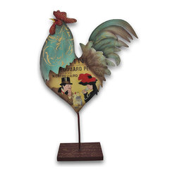 Zeckos - Colorful Damask Painted Wine Label Metal Rooster Sculpture 13 Inch - This metal rooster sculpture adds a charming French country accent to your home. It measures 13 inches tall, 8 1/2 inches long, 3 inches deep and is hand painted in bright, cheerful enamels, with a gold damask print neck, wine label body and aqua and tan tail. He makes a great gift for rooster lovers.